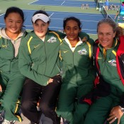 Australia's Junior Fed Cup team of (L-R) Olivia Tjandramulia, Kimberly Birrell, Naiktha Bains and captain Louise Pleming at the Asia/Oceania Final Qualifying event in Gimcheon, South Korea; Tennis Australia