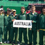The Australian Junior Davis and Fed Cup squads of (L-R) Kimberly Birrell, Naiktha Bains, Olivia Tjandramulia, Oliver Anderson, Marc Polmans and Akira Santillan; Tennis Australia