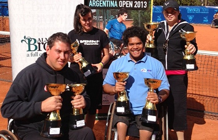 Australian Wheelchair Tennis team for Argentina Open 2013 (L-R) Jerry Markoja (NSW), Sarah Calati (Vic), Keegan Oh Chee (NSW) and Luba Josevski (Vic); Tennis Australia