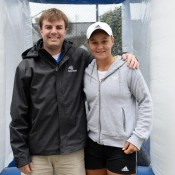 Ash Barty poses with a fan on Day 5 of the Family Circle Cup in Charleston; Chris Smith/Family Circle Cup