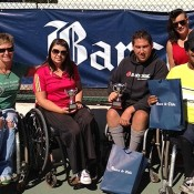 Australian wheelchair players (L-R) Janel Manns (NSW), Luba Josevski (Vic), Jerry Markoja (NSW), Sarah Calati (Vic) and Keegan Oh Chee (NSW) pose at the Chilean Open in Santiago; Tennis Australia