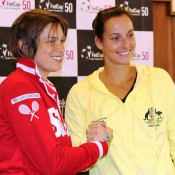Romina Oprandi (L) and Jarmila Gajdosova will battle it out in the second singles rubber on Saturday of the Switzerland v Australia Fed Cup World Group Play-off tie in Chiasso, Switzerland; Tennis Australia
