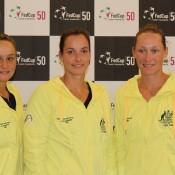 The Australian Fed Cup team at the official draw ceremony. (L-R) Casey Dellacqua, Ashleigh Barty, Jarmila Gajdosova, Sam Stosur and captain Alicia Molik; Tennis Australia