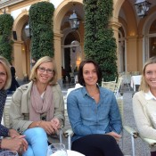 Australian Fed Cuppers (from L-R) coach Nicole Bradtke, captain Alicia Molik, Jarmila Gajdosova and Storm Sanders relax ahead of this weekend's tie in Switzerland; Tennis Australia