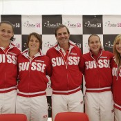 The Swiss Fed Cup team of (L-R) Amra Sadikovic, Romina Oprandi, captain Heinz Guenthardt, Stefanie Voegele and Timea Bacsinszky at a pre-tie press conference in Chiasso, Switzerland; Urs Lindt/freshfocus