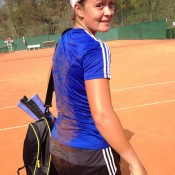 Ash Barty takes a tumble during practice but remains in good spirits at Tennis Club Chiasso in Switzerland; Tennis Australia