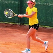 Storm Sanders plays a backhand during an Australian Fed Cup team practice session in Chiasso, Swizterland; Tennis Australia