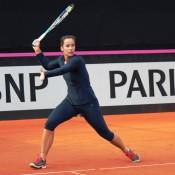 Jarmila Gajdosova in action during practice; Tennis Australia