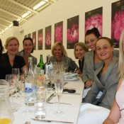 The Australian Fed Cup team at the official team dinner. From L-R: massage therapist Liz Astling, physio Anne-Marie Montgomery, Jarmila Gajdosova, coach Nicole Bradtke, team doctor Carolyn Broderick, Casey Dellacqua, Ash Barty and Storm Sanders; Tennis Australia