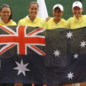 (L-R) Casey Dellacqua, Jarmila Gajdosova, Ashleigh Barty and Sam Stosur of Australia celebrate their 3-1 victory over Switzerland in their World Group Play-off tie; Getty Images