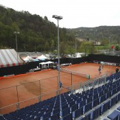 Rain stops play on Centre Court during Day 2 of the Fed Cup World Group Play-Off tie between Switzerland and Australia at Tennis Club Chiasso in Chiasso, Switzerland; Getty Images