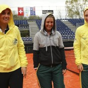 (L-R) Jarmila Gajdosova, Storm Sanders and Sam Stosur during the rain-delayed Fed Cup World Group Play-Off tie between Switzerland and Australia at Tennis Club Chiasso; Getty Images