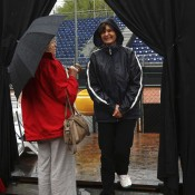 Referee Mihaela Testiban (R) during Day 2 of the rain-delayed Fed Cup World Group Play-Off tie between Switzerland and Australia; Getty Images