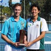 2013 National Deaf Tennis Championships mens' singles finalists Glen Flindell (L), who won the title, and John Lui; Tennis Australia