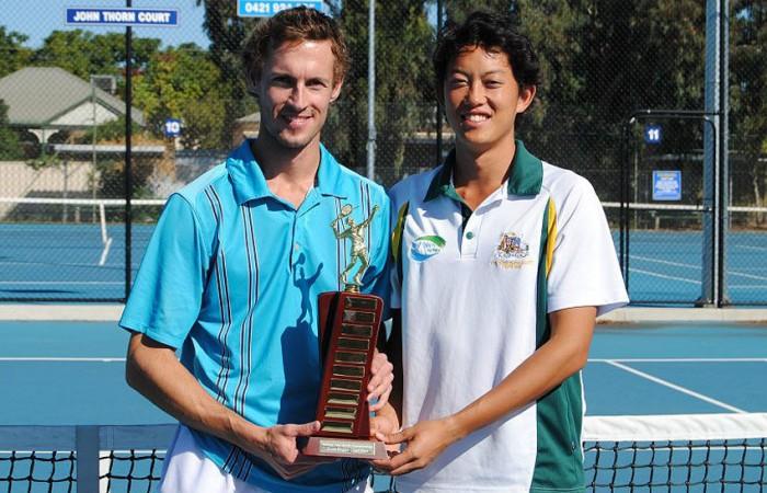 2013 National Deaf Tennis Championships mens' singles finalists Glen Flindell (L), who won the title, and John Lui; Tennis Australia