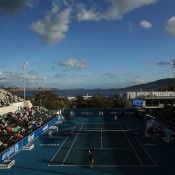 Set high up on a hill, the centre court at Domain Tennis Centre affords visitors stunning views over Hobart's River Derwent; Getty Images