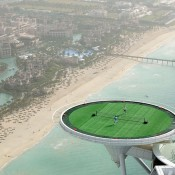 A tennis court, on a helipad, atop the world's most luxurious hotel (Burj Al Arab), 211 metres in the air? Only in Dubai; Getty Images