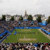 Eastbourne's centre court at Devonshire Park is charmingly and quintessentially British - lush green lawns, set by the English seaside, with church spires and quaint homes forming a lovely backdrop; Getty Images