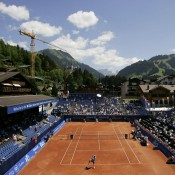 Named after Australian tennis legend Roy Emerson, the centre court at the ATP Gstaad event is set in the picturesque Swiss Alps; Getty Images
