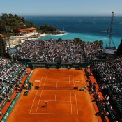 The jewel of the ATP calendar - Court Centrale at the Monte Carlo Masters is set atop the dramatic cliffs of Monaco overlooking the azure blue Mediterranean, while mountains rise steeply in the opposite direction behind the imposing spectator terraces; Getty Images
