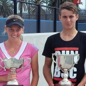 Zoe Hives (L) and Oliver Anderson, winners of the 16s National Claycourt Championships titles at Melbourne Park; Tennis Australia