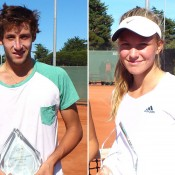 Daniel Guccione (L) and Maddison Inglis captured the titles at the Victorian Junior Claycourt International ITF event at Dendy Park; Tennis Australia