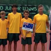 The Australian World Junior Tennis team from (L-R) Kody Pearson, Alexei Popyrin, Alex De Minaur and coach Ben Pyne; Tennis Australia