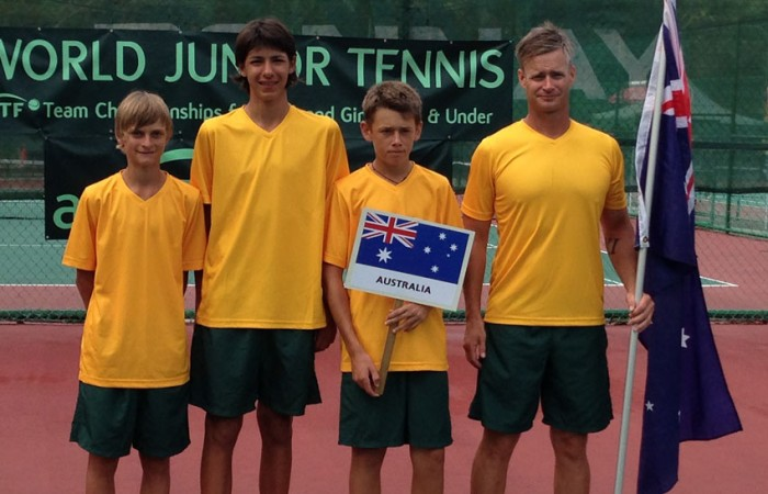The Australian World Junior Tennis team from (L-R) Kody Pearson, Alexei Popyrin, Alex De Minaur and coach Ben Pyne; Tennis Australia