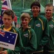 The Australian World Junior Tennis team of (L-R) Alex De Minaur, Kody Pearson, Alexei Popyrin and coach Ben Pyne; Tennis Australia