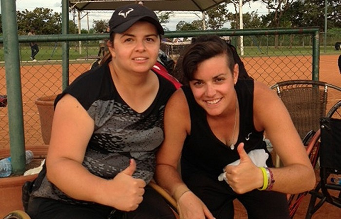 DF Wheelchair Tennis Open doubles winners Luba Josevski (L) and Sarah Calati; Tennis Australia