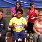 The Aussie Wheelchair Tennis team in Brazil (L-R) Jerry Markoja, Luba Josevski, Keegan Oh-Chee, Sarah Calati and Janel Manns; Tennis Australia