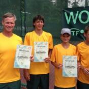 The top-placing Australian World Junior Tennis team of (L-R) coach Ben Pyne, Alexei Popyrin, Kody Pearson and Alex de Minaur; Tennis Australia
