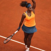 Serena Williams twirls for the crowd after crushing Carla Suarez Navarro in the quarterfinals of the Internazionali BNL d'Italia.Williams won 6-2 6-0 ;Getty Images