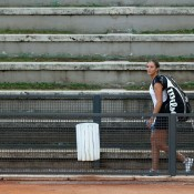 Laura Robson casts a lonely figure as she leaves the court following a doubles loss at the Internazionali BNL d'Italia; Getty Images