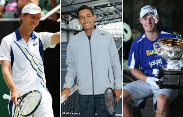 (L-R) Wayne Arthurs, Nick Kyrgios and Luke Saville pay tribute to their mums ahead of Mother's Day; Getty Images