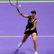 Liezel Huber, seen here competing in Istanbul at the 2012 WTA Championships, adopted son Joshua Jacob (born September 2012) and continues to play on the women's tour in doubles today; Getty Images
