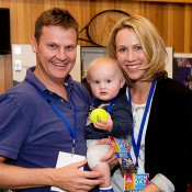 Alicia Molik poses with husband Tim Sullivan and baby Yannik at the opening of the Perth Arena, new host venue of the Hyundai Hopman Cup. Although she retired to give birth to Yannik, Molik remains heavily involved in tennis as Australia's Fed Cup captain (and hitting partner) and as an ambassador for MLC Tennis Hot Shots; Tennis Australia