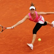 Seen here competing at the 2007 French Open, American former world No.39 Ashley Harkleroad and husband Chuck Adams (a World Team Tennis coach) gave birth to son Charlie in March 2009. She continued competing on tour until 2010, and the next year gave birth to a daughter, Loretta Lynn; Getty Images