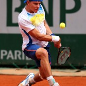 James Duckworth, playing a backhand during his first round match on Day 1 of the French Open, went down 6-2 6-2 6-2 to Blaz Kavcic of Slovenia; Getty Images