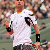 Lleyton Hewitt gets pumped up in his first round match against Gilles Simon on Day 1 of the French Open at Roland Garros. Simon ultimately won 3-6 1-6 6-4 6-1 7-5; Getty Images
