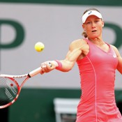 Sam Stosur plays a forehand in her first round match against Kimiko Date-Krumm of Japan on Court 1 during Day 3 of the French Open at Roland Garros in Paris, France; Getty Images