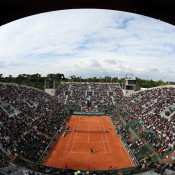 A general view - created with a fish-eye lens - of Court Suzanna Lenglen as Marinko Matosevic serves to David Ferrer in their first round match on Day 1 of the French Open at Roland Garros in Paris, France; Getty Images