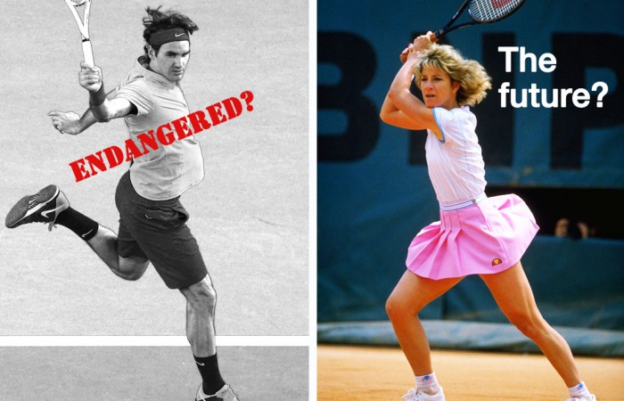 Roger Federer (left) and Chris Evert. GETTY IMAGES