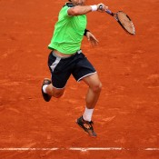 David Ferrer plays a forehand while airborne during the men's final at the French Open against Rafael Nadal; Getty Images
