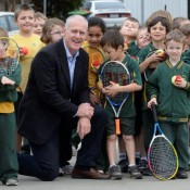 John Fitzgerald with students from Murchison Primary School. SHEPPARTON NEWS