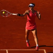 Sam Stosur plays a forehand on Court Suzanne Lenglen during her third round match against Jelena Jankovic of Serbia on Day 7 of the French Open, a match in which she ultimately went down 3-6 6-3 6-4; Getty Images
