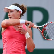 Sam Stosur plays a forehand against Jelena Jankovic in the third round of the French Open, a match in which she claimed the opening set before falling in three; Getty Images
