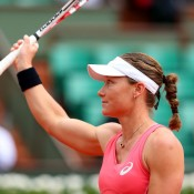 Sam Stosur waves to the crowd on Court Philippe Chatrier following her second round defeat of Kristina Mladenovic; Getty Images