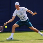 Bernard Tomic is seen here in action against Julien Benneteau of France in the second round of the AEGON International in Eastbourne, England, a match he ultimately won in a third-set tiebreak; Getty Images