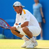 Lleyton Hewitt shows his frustration during a tense three-set semifinal loss to Marin Cilic of Croatia at the AEGON Championships at Queen's Club in London, England; Getty Images